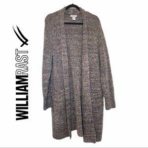 William Rast Fuzzy Loop Knit Soft Brown Cardigan